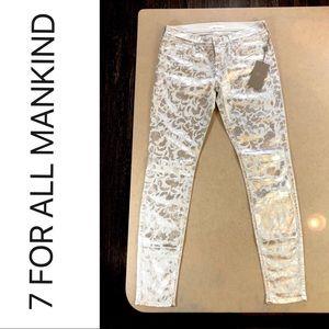 NWT Silver Metallic Foil Floral Skinny Jean